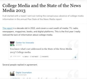 College Media and the State of the News Media 2013: Missing in Action