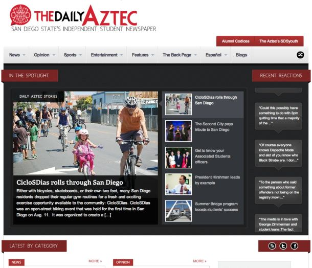 San Diego State University Aztec home page