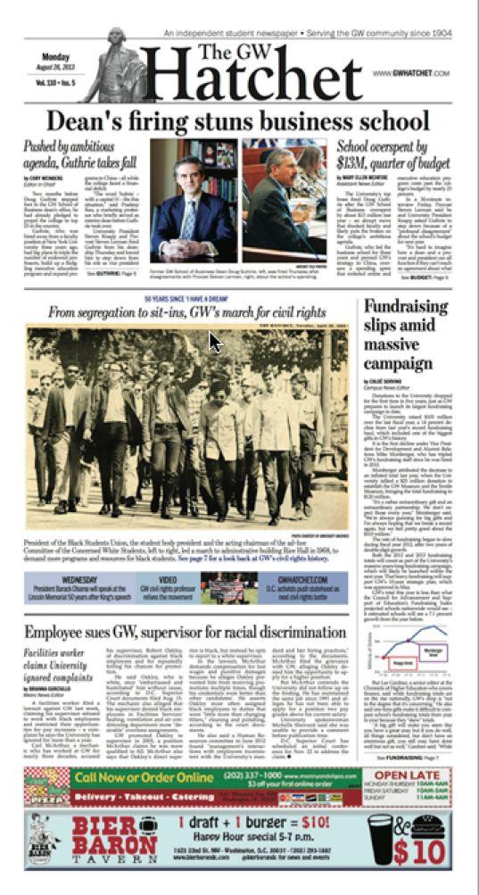 GW Hatchet front page