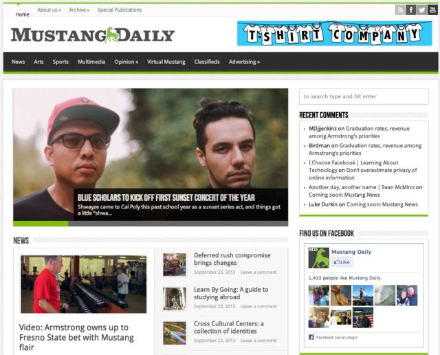 Mustang Daily homepage
